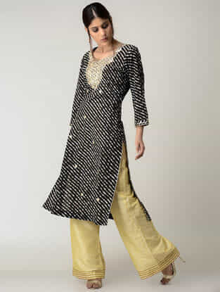 Black Lehriya Cotton Kurta with Gotta Patti