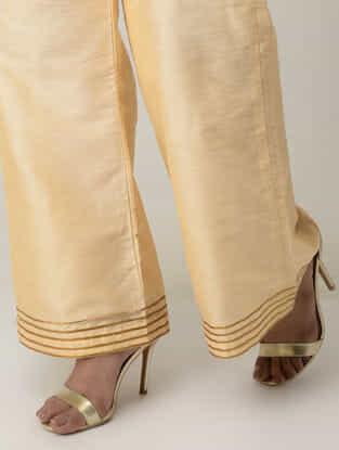 Beige Cotton Silk Palazzos with Gotta Work