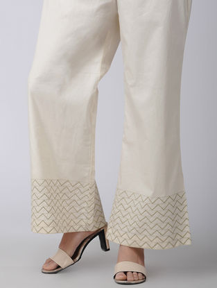 Beige Elasticated Waist Embroidered Cotton Palazzos