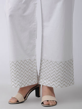 White Elasticated Waist Embroidered Cotton Palazzos