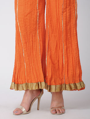 Orange Cotton Palazzos With Gota Work