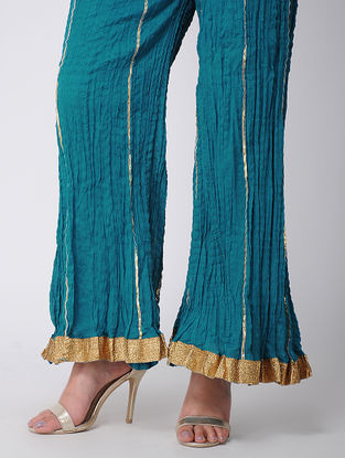 Blue Cotton Palazzos With Gota Work