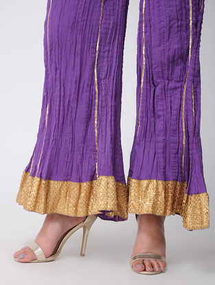 Purple Cotton Palazzos With Gota Work