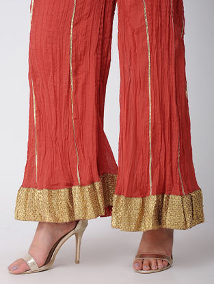 Red Cotton Palazzos With Gota Work