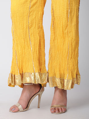 Yellow Cotton Palazzos With Gota Work