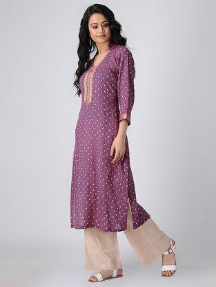 Purple Bandhani Cotton Kurta