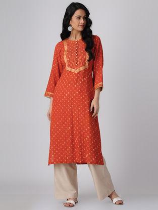 Orange Bandhani Cotton Kurta