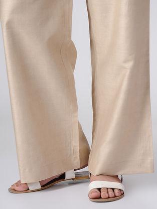 Beige Elasticated Waist Cotton Palazzos