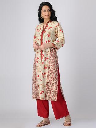Beige-Red Block-printed Khadi Cotton Kurta