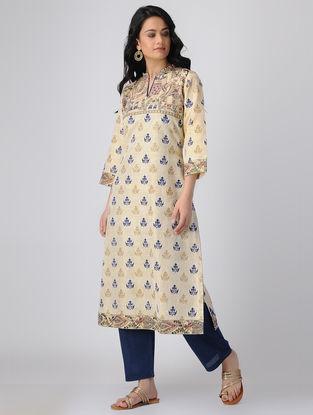 Beige-Blue Block-printed Khadi Cotton Kurta