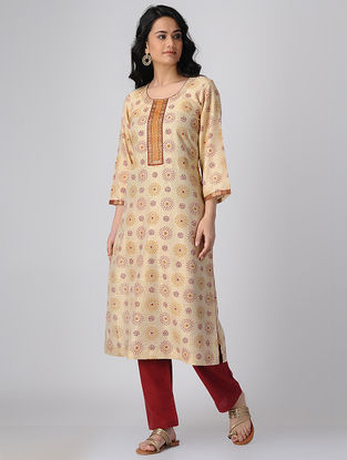 Beige-Maroon Block-printed Khadi Cotton Kurta