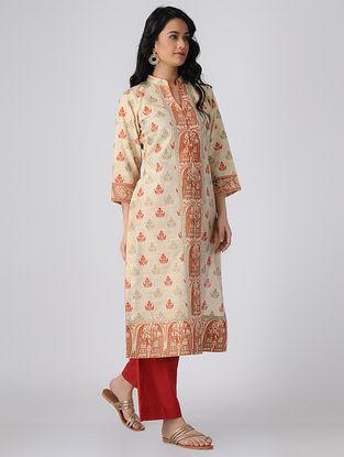 Beige-Orange Block-printed Khadi Cotton Kurta