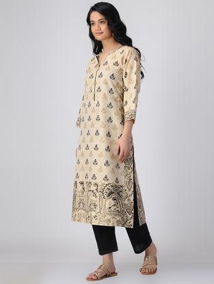 Beige-Black Block-printed Khadi Cotton Kurta