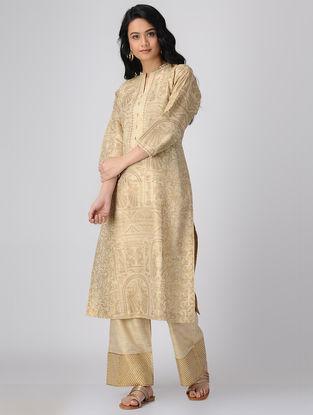 Beige-Golden Block-printed Khadi Cotton Kurta