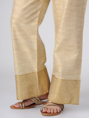 Beige-Golden Elasticated Waist Khadi Cotton Palazzos with Gota Work