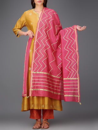 Pink Chanderi Dupatta with Gota Work