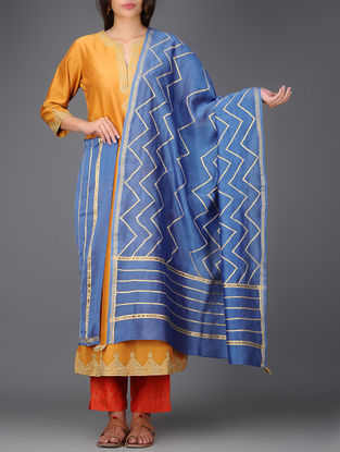Blue Chanderi Dupatta with Gota Work