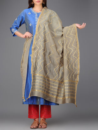 Grey Chanderi Dupatta with Gota Work