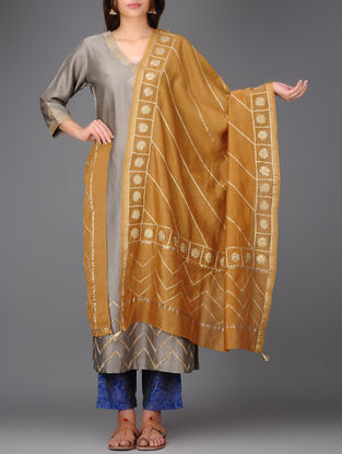 Mustard Chanderi Dupatta with Gota Work