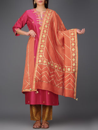 Orange Chanderi Dupatta with Gota Work