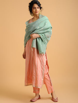 Teal Cotton Chanderi Dupatta with Embroidery