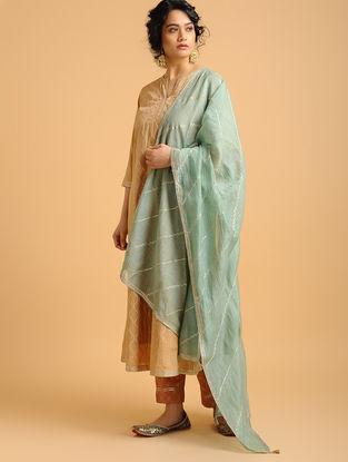 Teal Aari-embroidered Cotton Chanderi Dupatta with Gota Work
