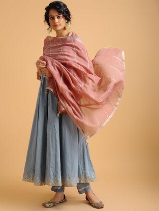 Pink Aari-embroidered Cotton Chanderi Dupatta with Gota Work