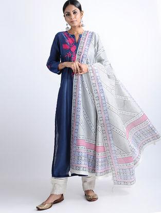 White-Blue Block-printed Chanderi Dupatta