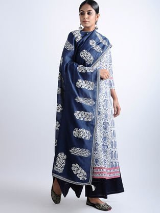 Indigo Aari-embroidered Chanderi Dupatta