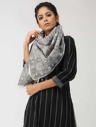 Grey Block-printed Chanderi Scarf