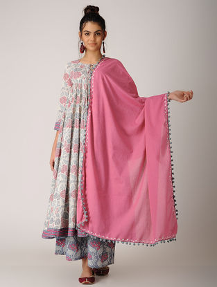 Pink Embroidered Cotton Dupatta
