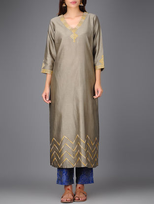 Grey V-neck Chanderi Kurta with Gota Work