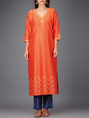 Orange V-neck Chanderi Kurta with Gota Work