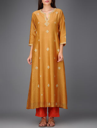 Mustard Chanderi Kurta with Gota Work