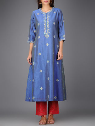 Blue Chanderi Kurta with Gota Work