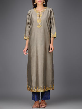 Grey Chanderi Kurta with Gota Work