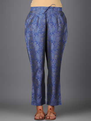 Blue Khari-printed Elasticated Tie-up Waist Chanderi Pants