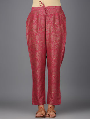 Pink Khari-printed Elasticated Tie-up Waist Chanderi Pants