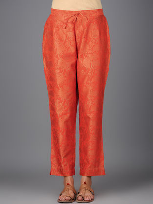 Orange Khari-printed Elasticated Tie-up Waist Chanderi Pants