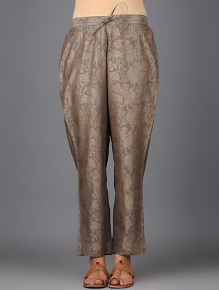 Grey Khari-printed Elasticated Tie-up Waist Chanderi Pants