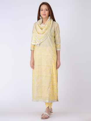Yellow-Ivory Panelled Block-printed Cotton Voile Kurta with Gota Embroidery