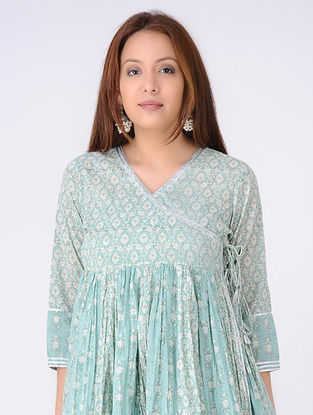 Green-Ivory Gathered Block-printed Cotton Voile Angrakha Tunic with Gota Embroidery