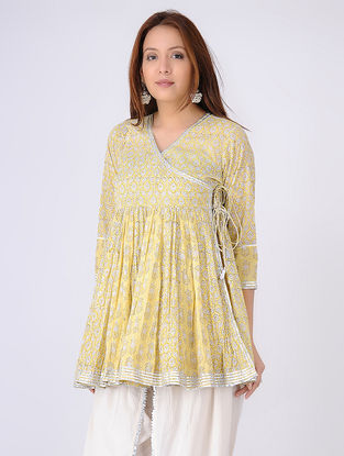 Yellow-Ivory Gathered Block-printed Cotton Voile Angrakha Tunic with Gota Embroidery