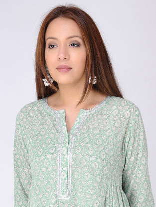 Green-Ivory Gathered Block-printed Cotton Voile Kurta with Gota Embroidery