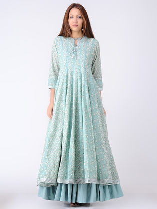 Green-Ivory Panelled Block-printed Cotton Voile Kali Kurta with Gota Embroidery