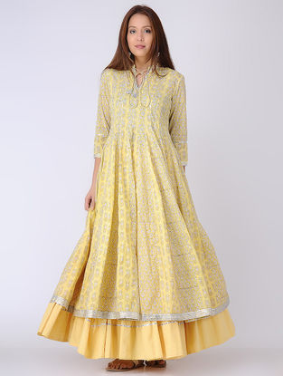 Yellow-Ivory Panelled Block-printed Cotton Voile Kali Kurta with Gota Embroidery
