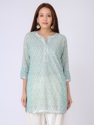 Green-Ivory Panelled Block-printed Cotton Voile Tunic with Gota Embroidery