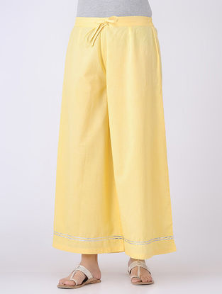 Yellow Tie-up Elasticated Waist Cambric Palazzos with Gota Embroidery