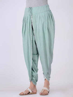 Green Tie-up Cambric Pants with Gota Embroidery