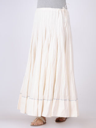 Ivory Panelled Tie-up Cotton Voile Skirt with Gota Embroidery